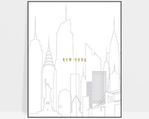 New York art skyline poster grey gold