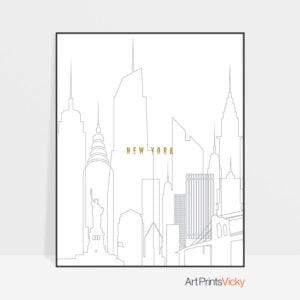 New York art skyline poster grey gold