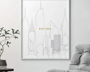 New York art skyline poster grey gold second