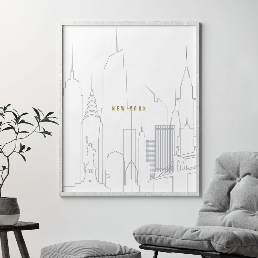 New York art skyline poster grey gold second