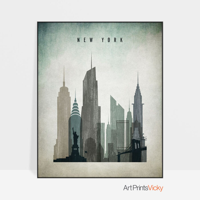New York poster distressed 3