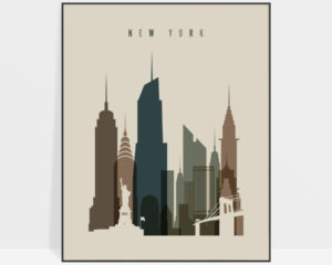 New York City art print earth tones 3