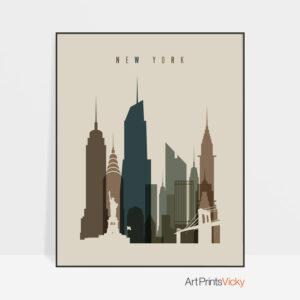 New York City art print earth tones 3