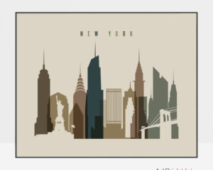 New York art print landscape earth tones 3