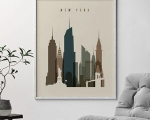 New York City art print earth tones 3 second