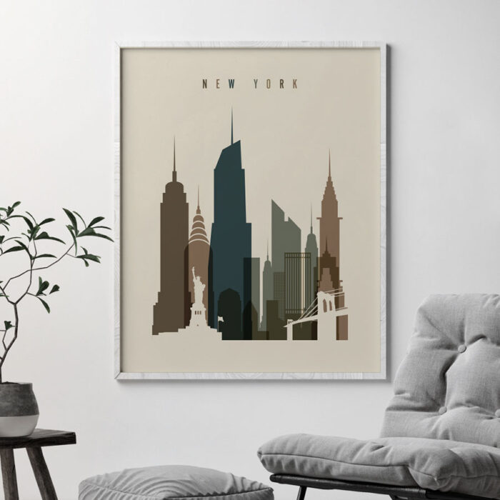 New York City art print earth tones 3 second