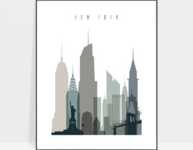 New York art print skyline earth tones 4
