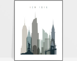 New York art print skyline earth tones 4