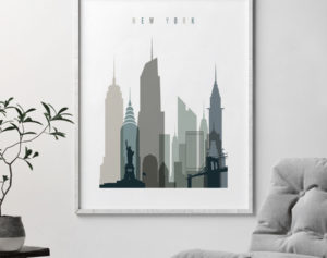 New York art print skyline earth tones 4 second