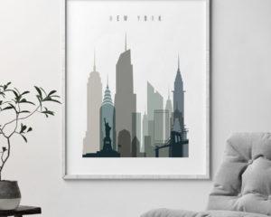 New York art print skyline earth tones 4 second