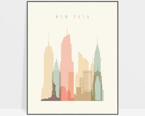New York art print skyline pastel cream