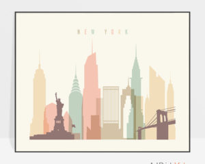 New York landscape poster pastel cream