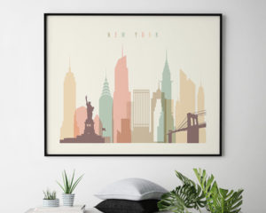 New York landscape poster pastel cream second