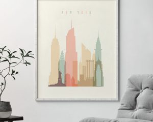 New York art print skyline pastel cream second