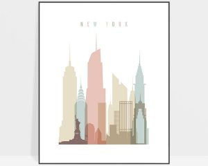 New York wall art pastel white