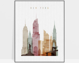 New York skyline poster watercolor 1
