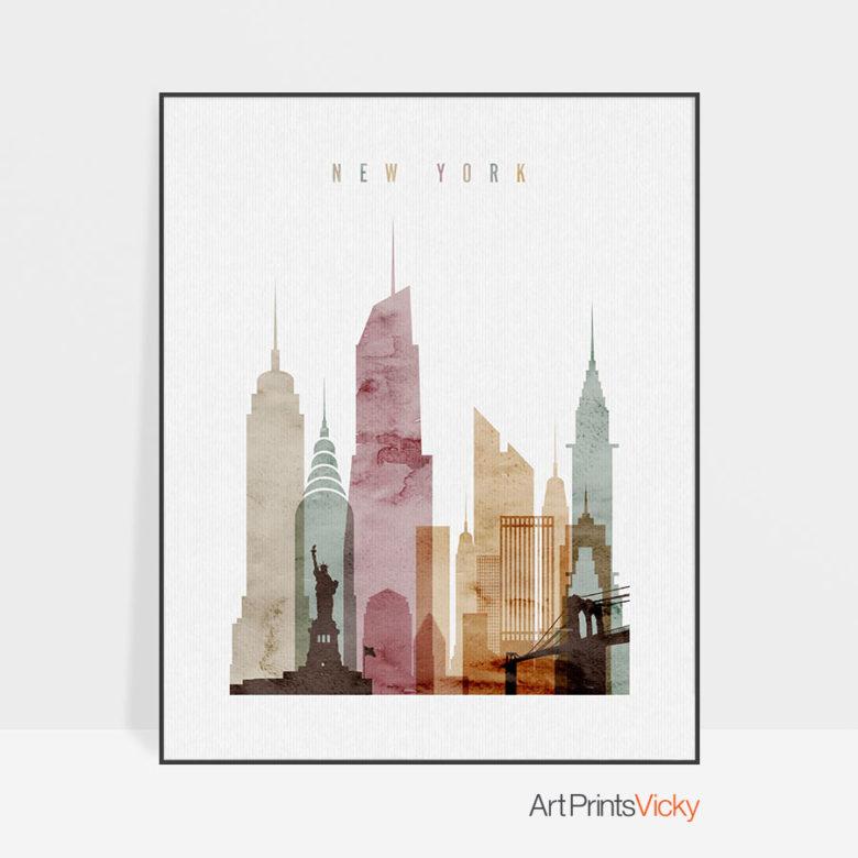 New York skyline poster watercolor 1