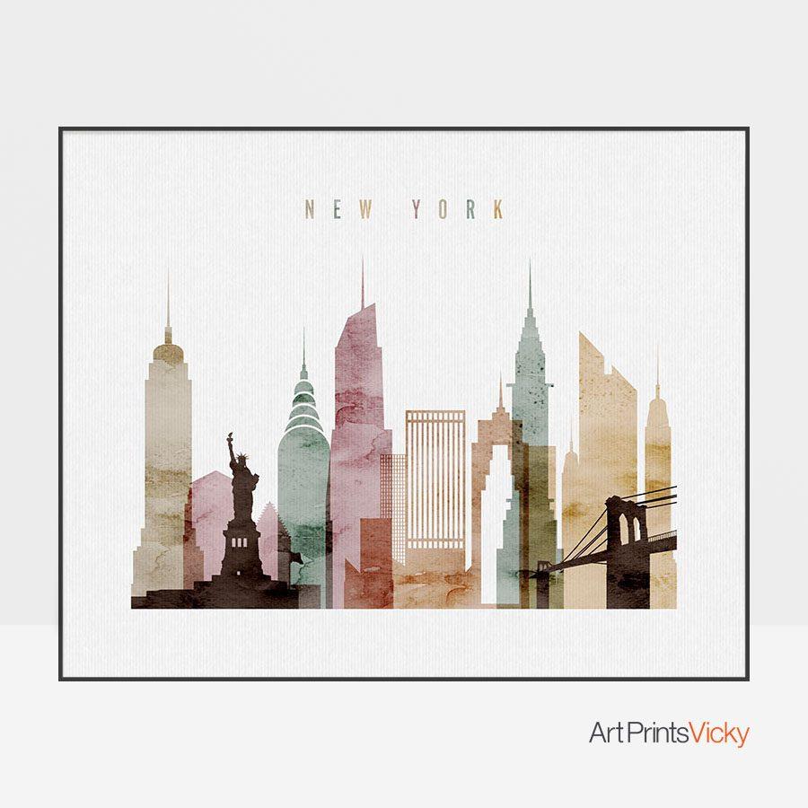 New York skyline watercolor 1 landscape