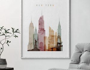 new york poster watercolor 1 second photo at artprintsvicky.com