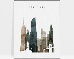 New York skyline wall art watercolor 2