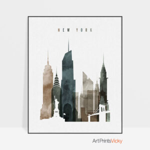 New York skyline wall art watercolor 2