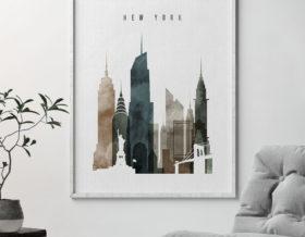 New York skyline wall art watercolor 2 second