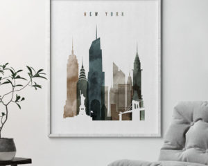 New York skyline wall art watercolor 2 second