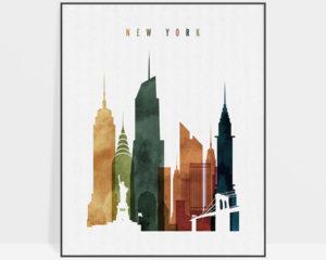 New York City skyline print watercolor 3