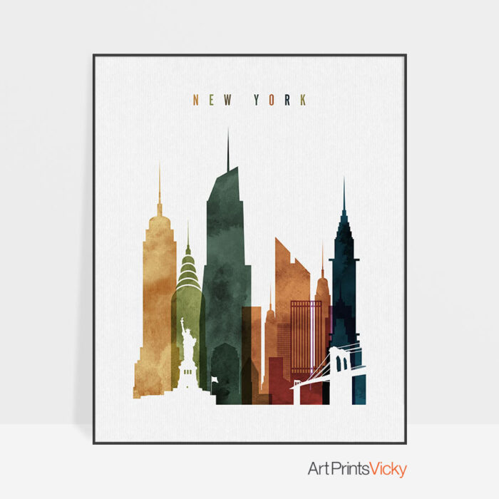New York City skyline watercolor 3 print