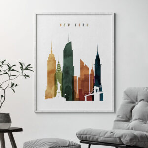 New York City skyline print watercolor 3 second