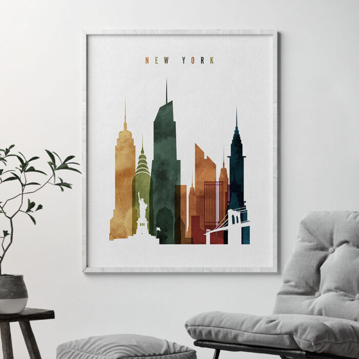 New York City skyline print watercolor 3 second