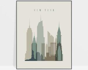 New York print skyline earth tones 1