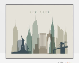 New York City print earth tones 1 landscape
