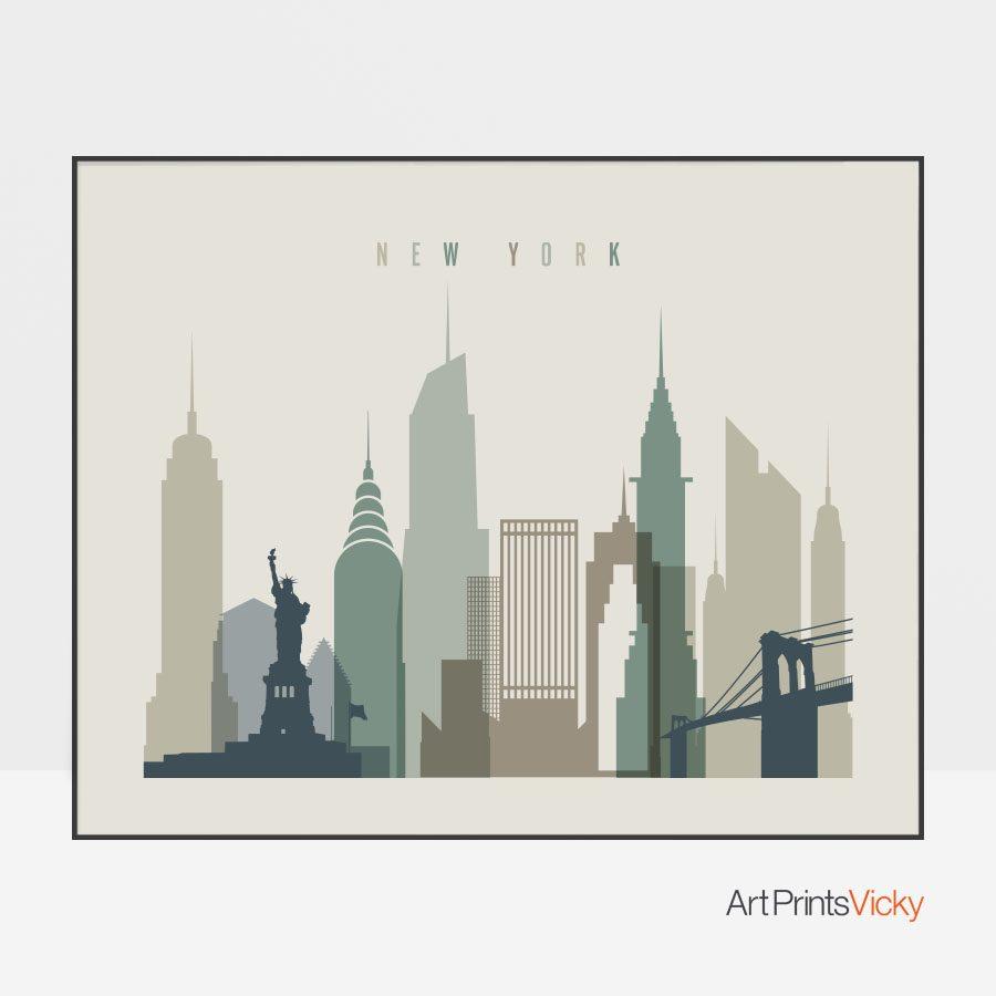 New York City print earth tones 1 landscape