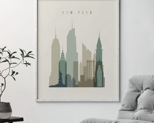 New York print skyline earth tones 1 second
