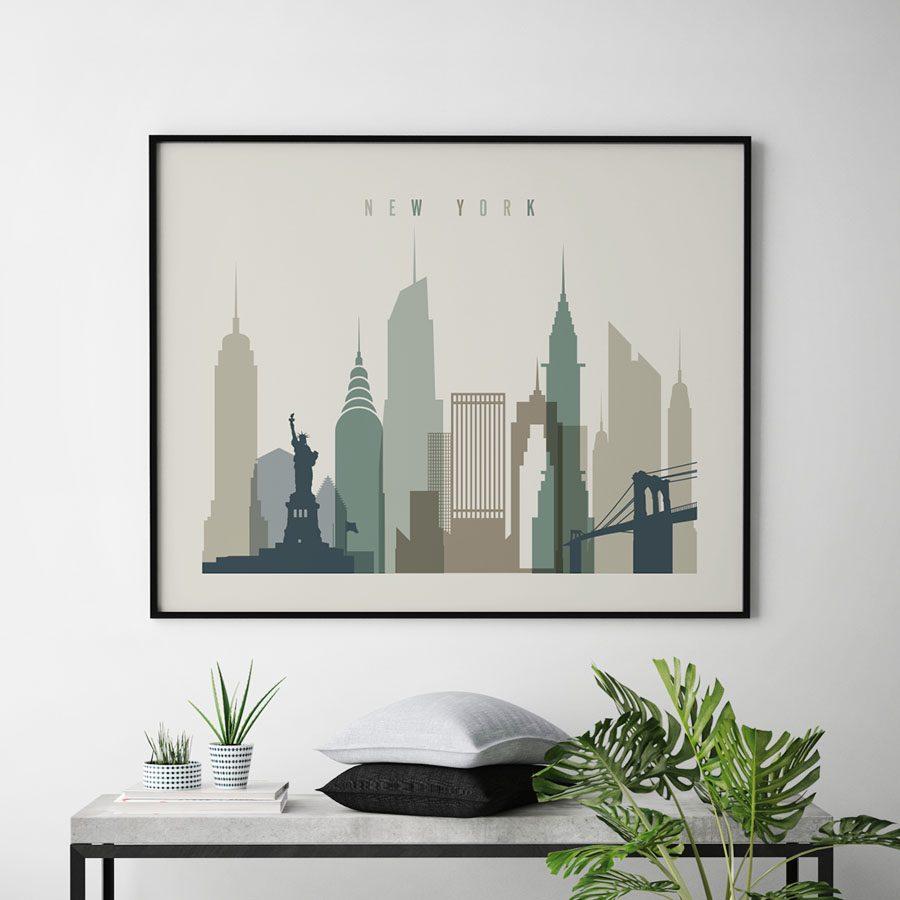 New York City print earth tones 1 landscape second