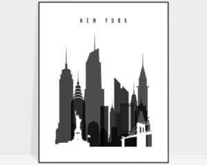 New York City poster black and white