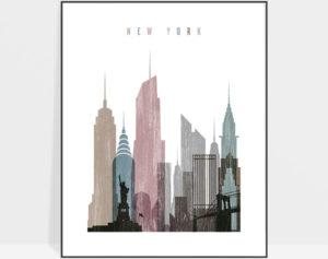 New York skyline poster distressed 1