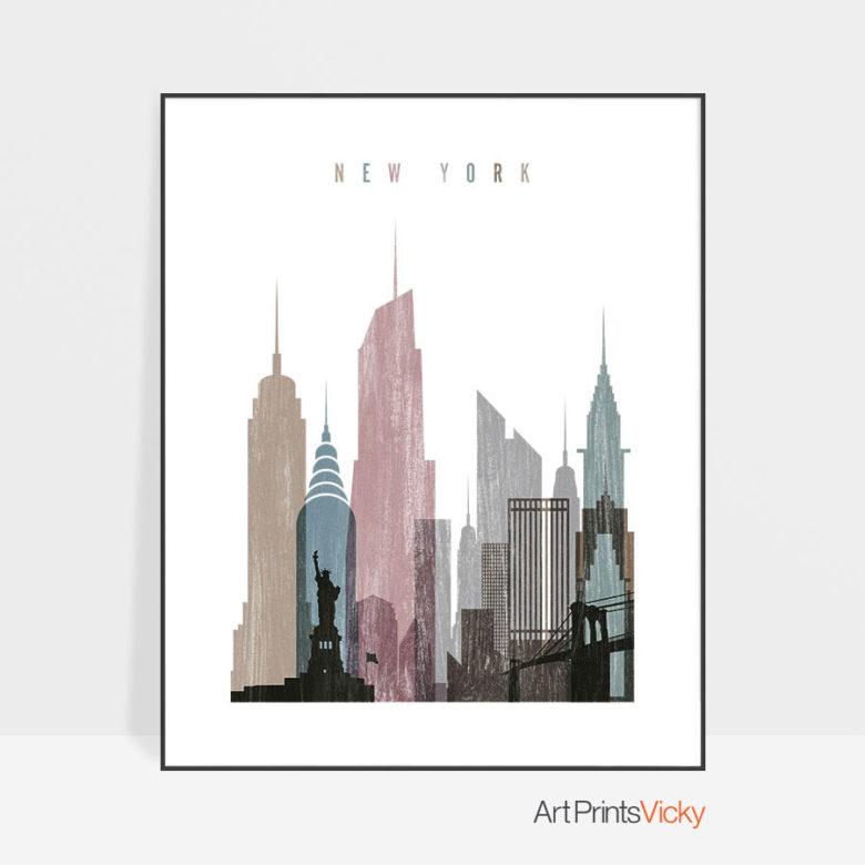 New York skyline poster distressed 1
