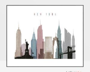 New York City print landscape distressed 1