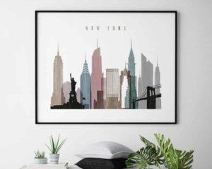 New York City print landscape distressed 1 second