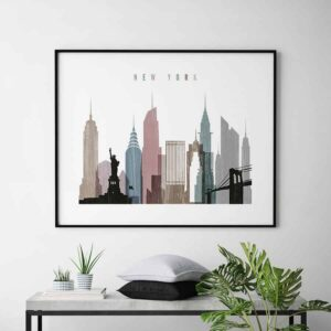 New York City print landscape distressed 1 second