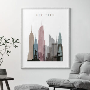 New York skyline poster distressed 1 second