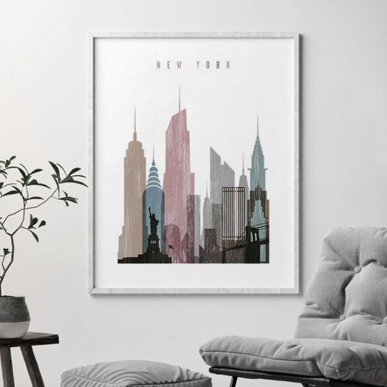 New York skyline poster distressed 1 second
