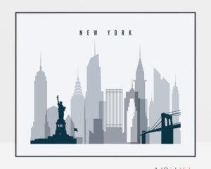 New York skyline art grey blue landscape