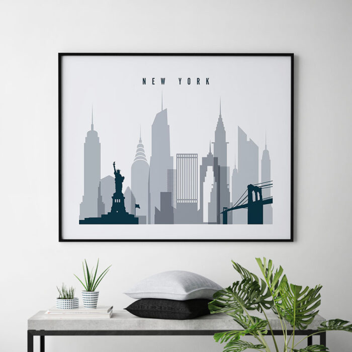 New York skyline art grey blue landscape second