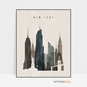 New York skyline print distressed 2