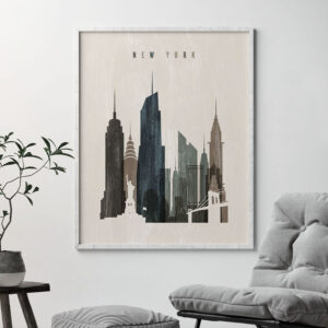 New York skyline print distressed 2 second