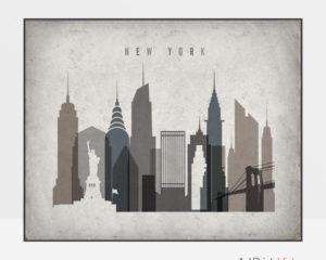 New York art print landscape retro