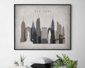 New York art print landscape retro second